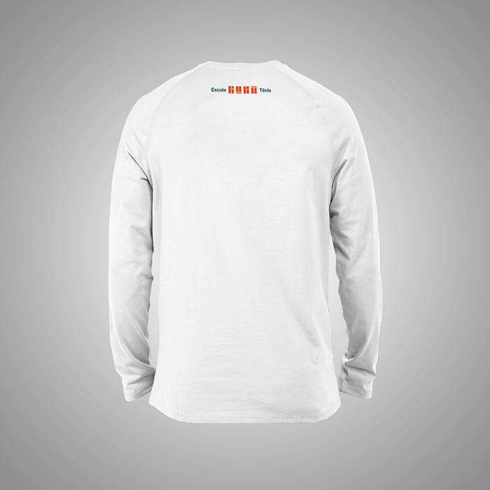Camiseta Branca Manga Longa Educador Guga Tênis