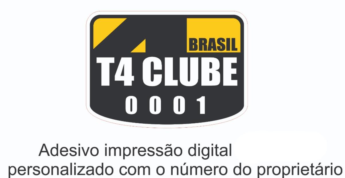 100 uni  - Adesivo Mini placa T4 Clube Brasil | 6,0 x 4,5 cm