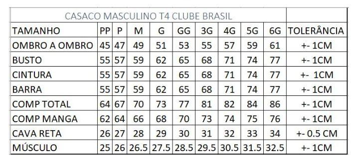 Jaqueta Masculina T4 Clube Brasil