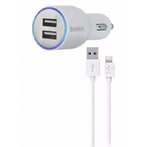 CARREGADOR VEICULAR 2 PORTAS USB + Cabo Iphone 5/ 5s/ 6 - 1.2 METROS - BRANCO