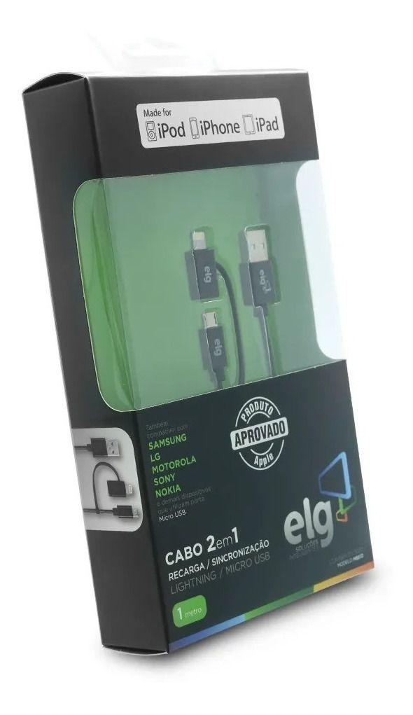 ELG | CABO 2 EM 1 LIGHTNING E ANDROID PRETO | 1 METRO