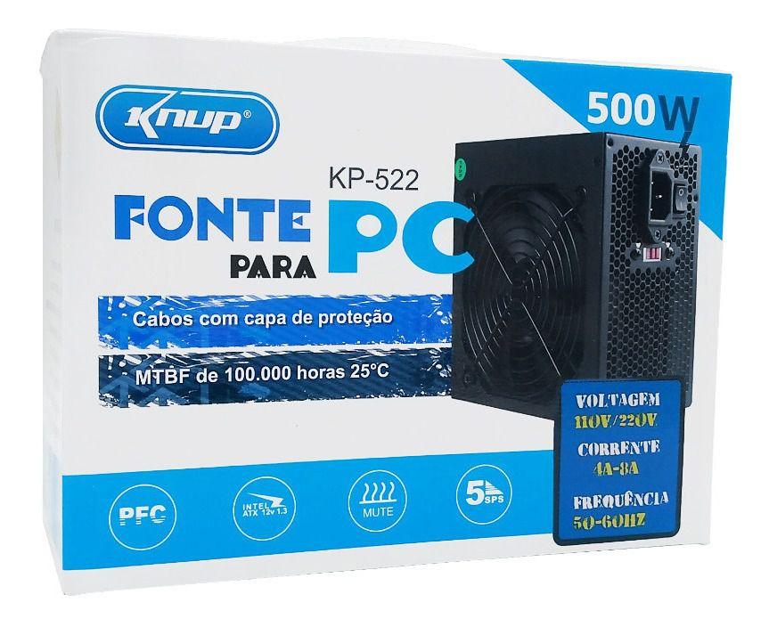 FONTE | PC | KNUP | KP-522 | 110V/220V 4A-8A 50-60HZ | 500 W