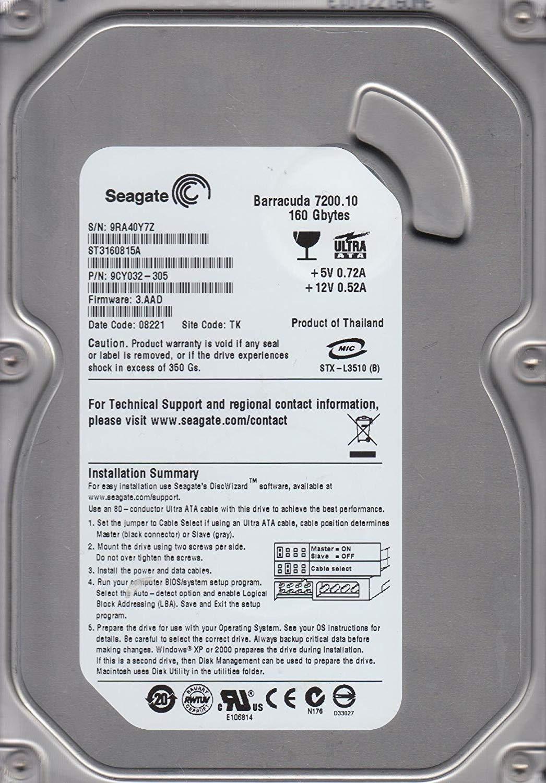 HD DESKTOP | SATA | ST3160815A | SEAGATE | 160GB | S/N
