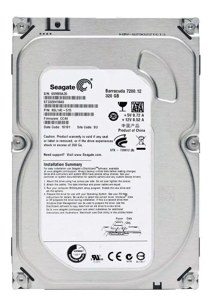 HD DESKTOP | SATA | ST3200418AS | SEAGATE | 320GB | S/N