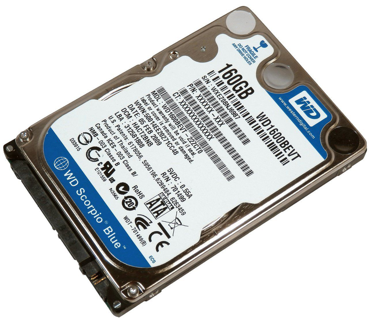 HD NOTEBOOK | SATA | WD1600BEVT | WESTERN DIGITAL | 160GB | S/N