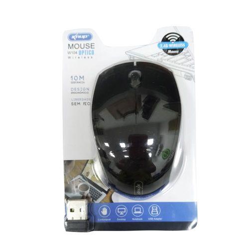 MOUSE | USB | SEM FIO | KNUP | W104 | 1200 DPI | PRETO