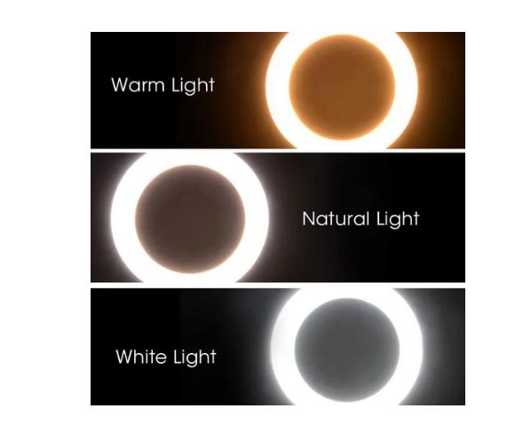 Ring Light 16cms 6 Pol. Iluminador Led 3 Cores Com Tripé