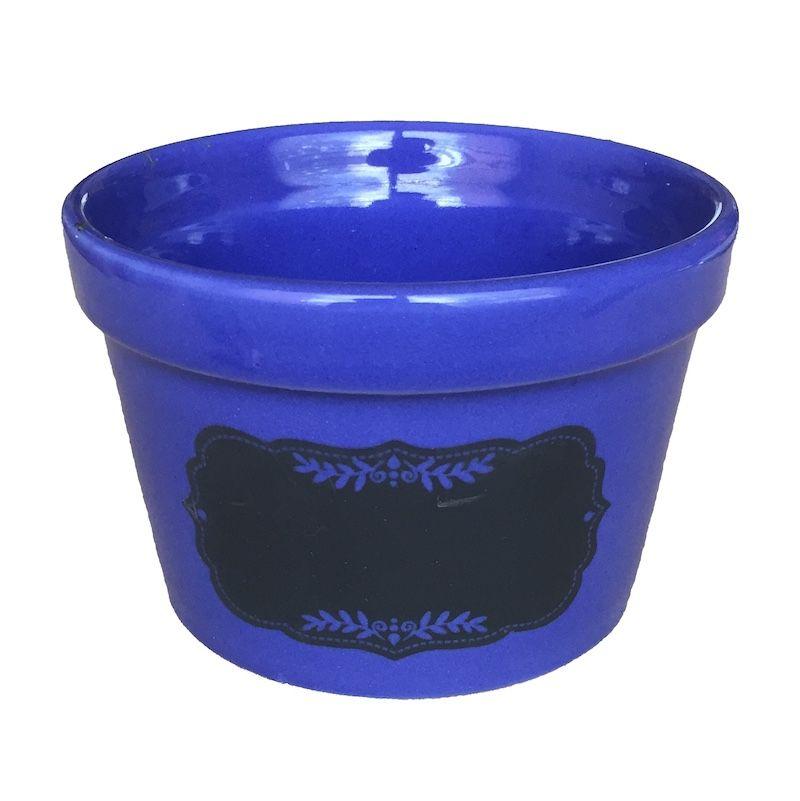 Cachepô Cerâmico Lousa Azul