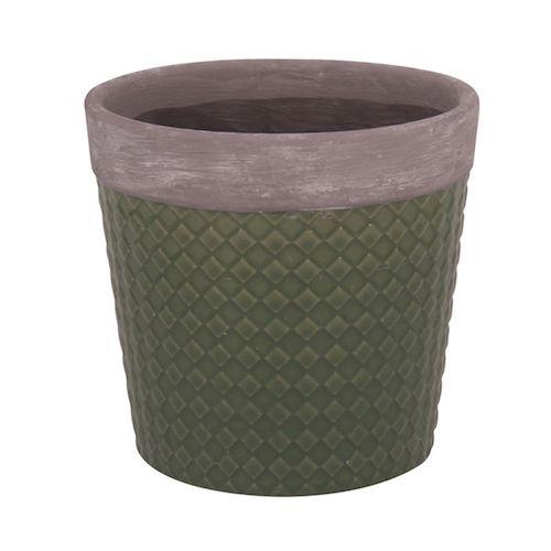 Cachepô Cerâmico Verde Losangos