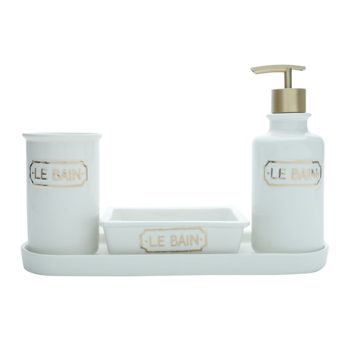 Kit de Banheiro Le Bain em Cerâmica Branca