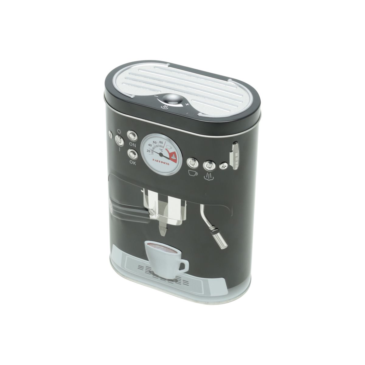Lata Metálica Coffee Machine Preta