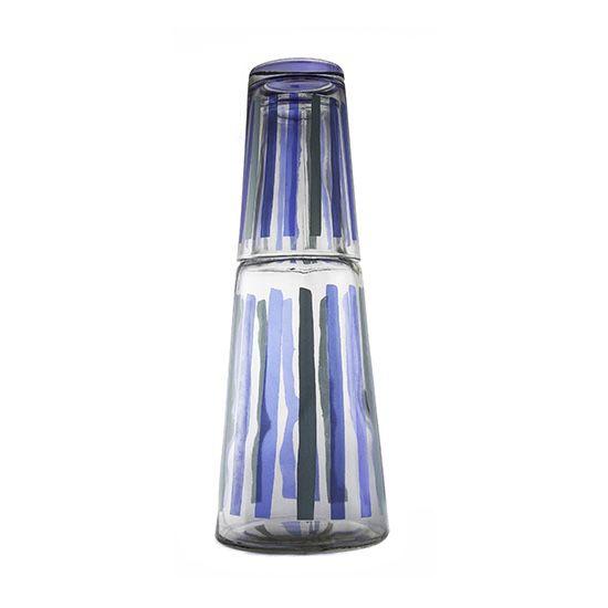 Moringa de Vidro para Água Listras Azuis