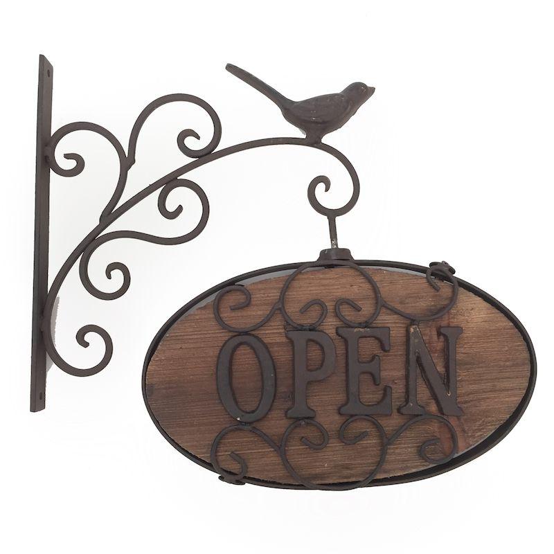 Placa Decorativa Open Close Sabiá