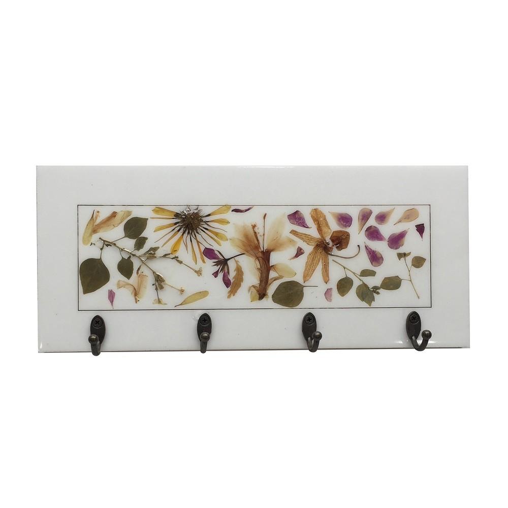 Porta Chaves Botânico Floral 4 Ganchos