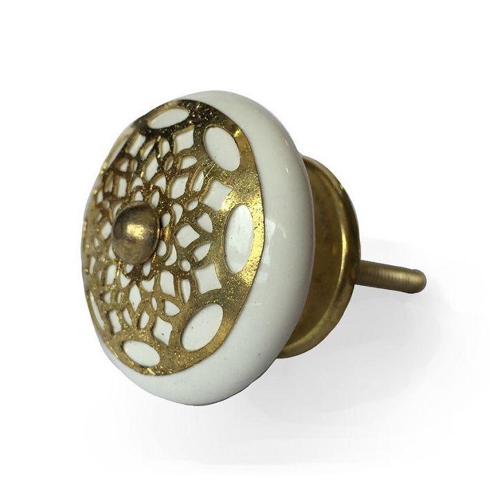 Puxador de Porcelana Bilro Ouro