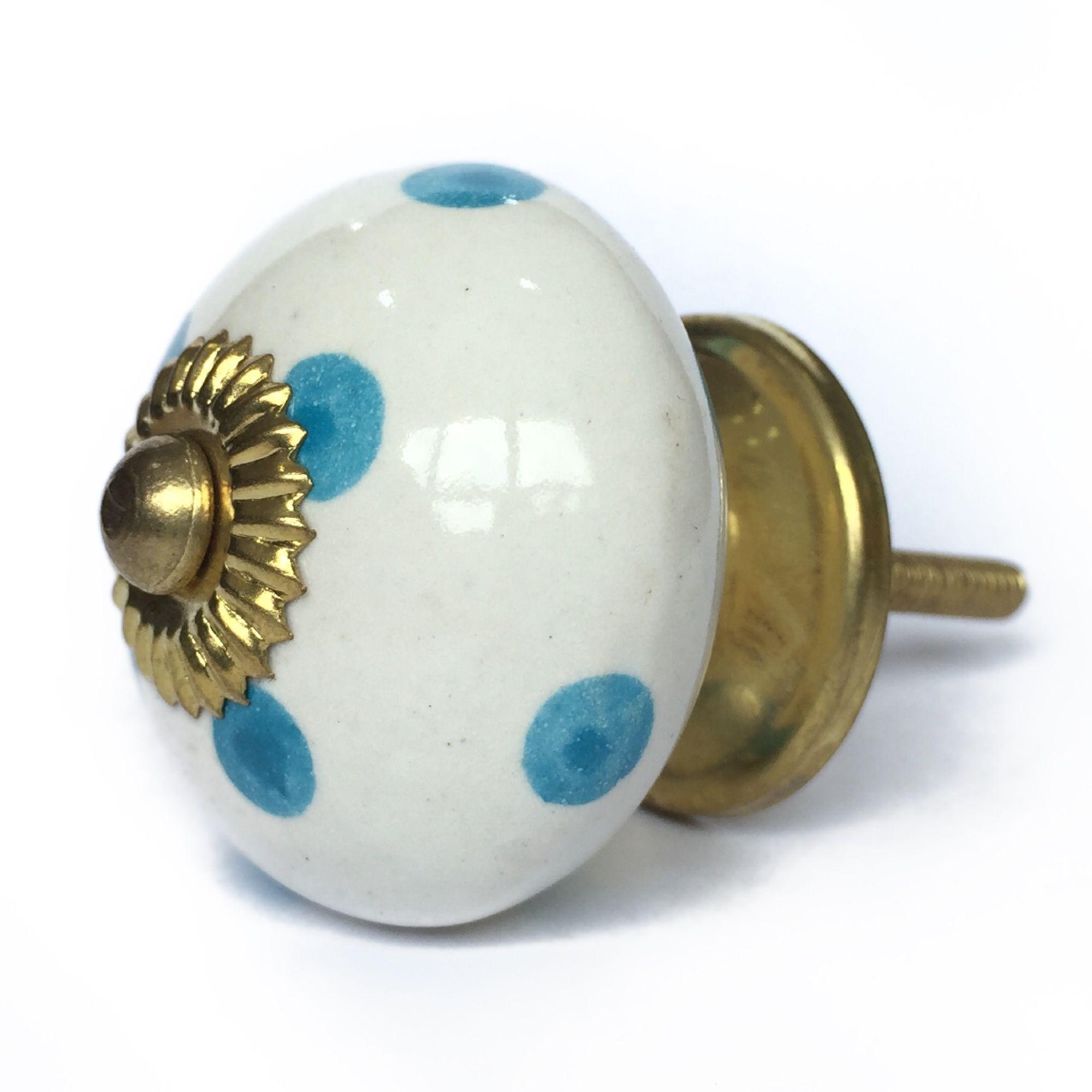 Puxador de Porcelana Bolinhas Azul e Branco