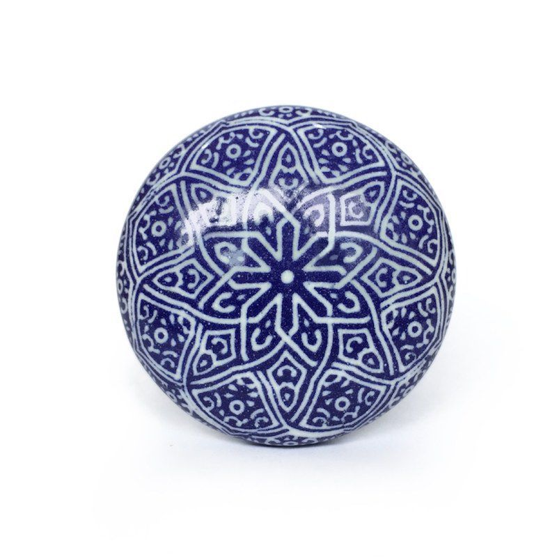 Puxador de Porcelana Decorada Lisboa  - kit 4 pçs