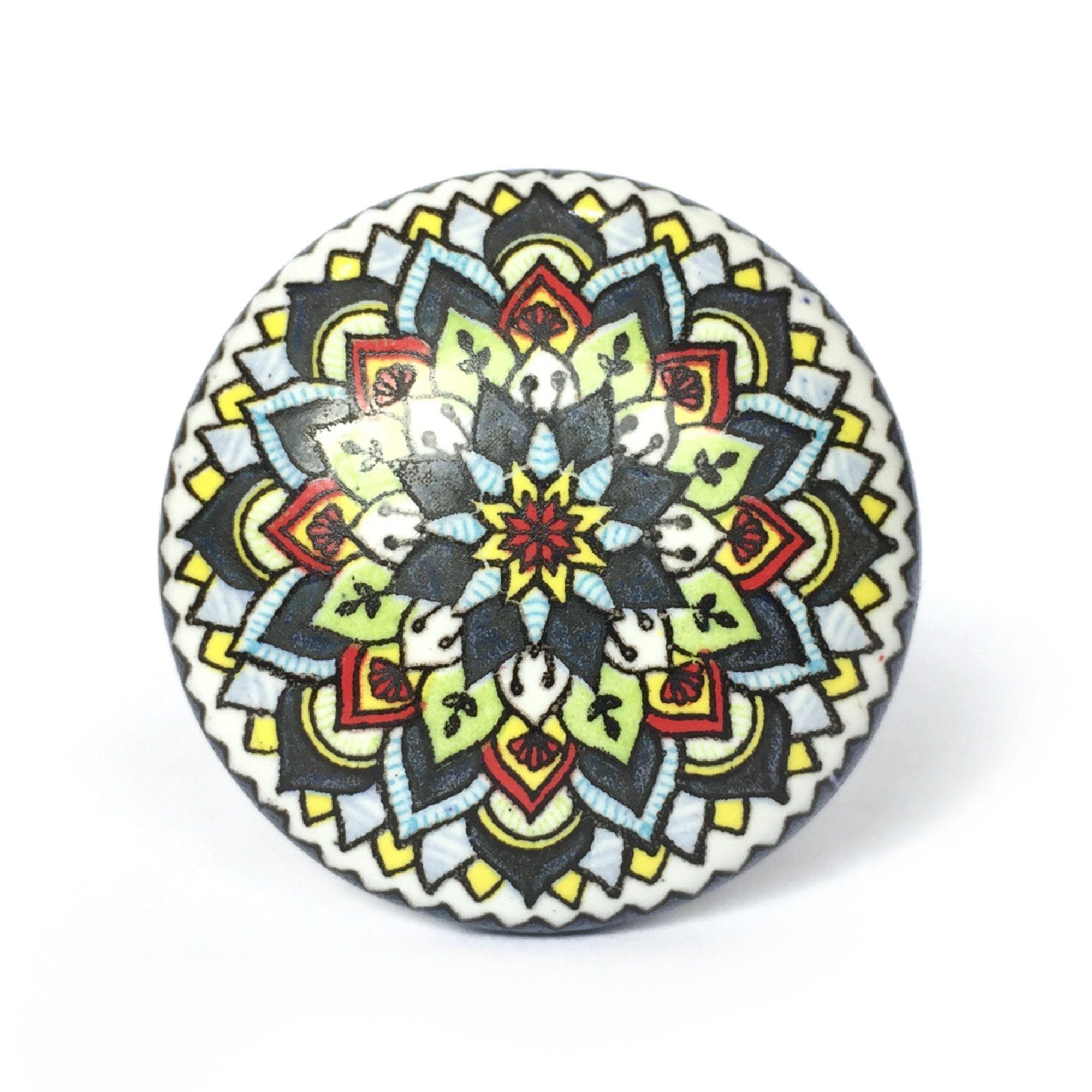 Puxador de Porcelana Decorada Mari - Kit 4 pçs