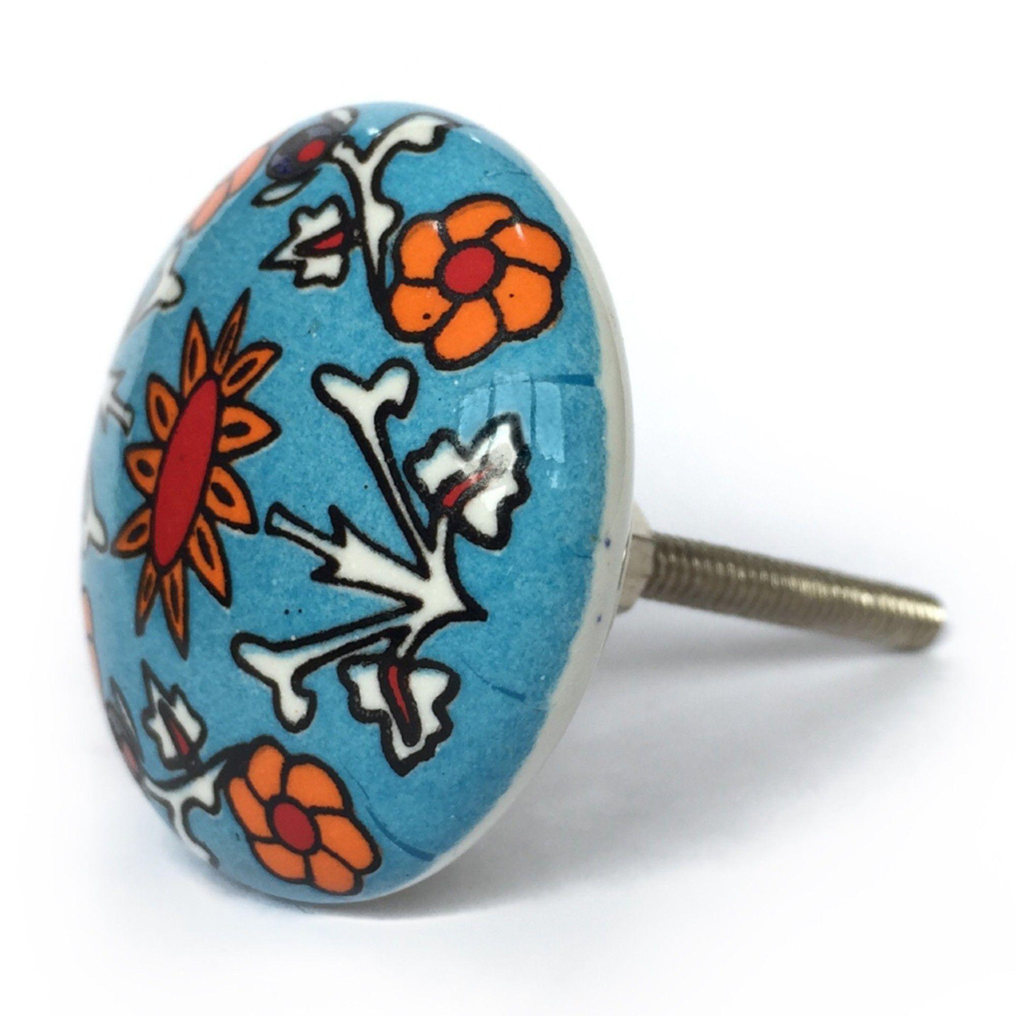Puxador de Porcelana Decorada Primavera