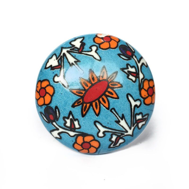 Puxador de Porcelana Decorada Primavera - kit 4 pçs