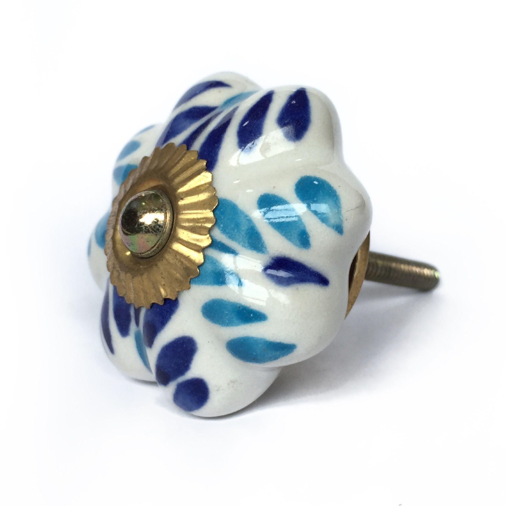 Puxador de Porcelana Elisa Azul e Branco