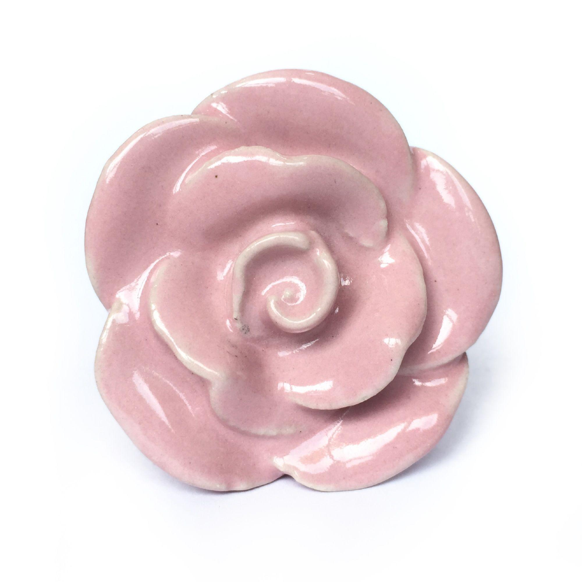 Puxador de Porcelana Flor Rosa Claro - kit 4 pçs