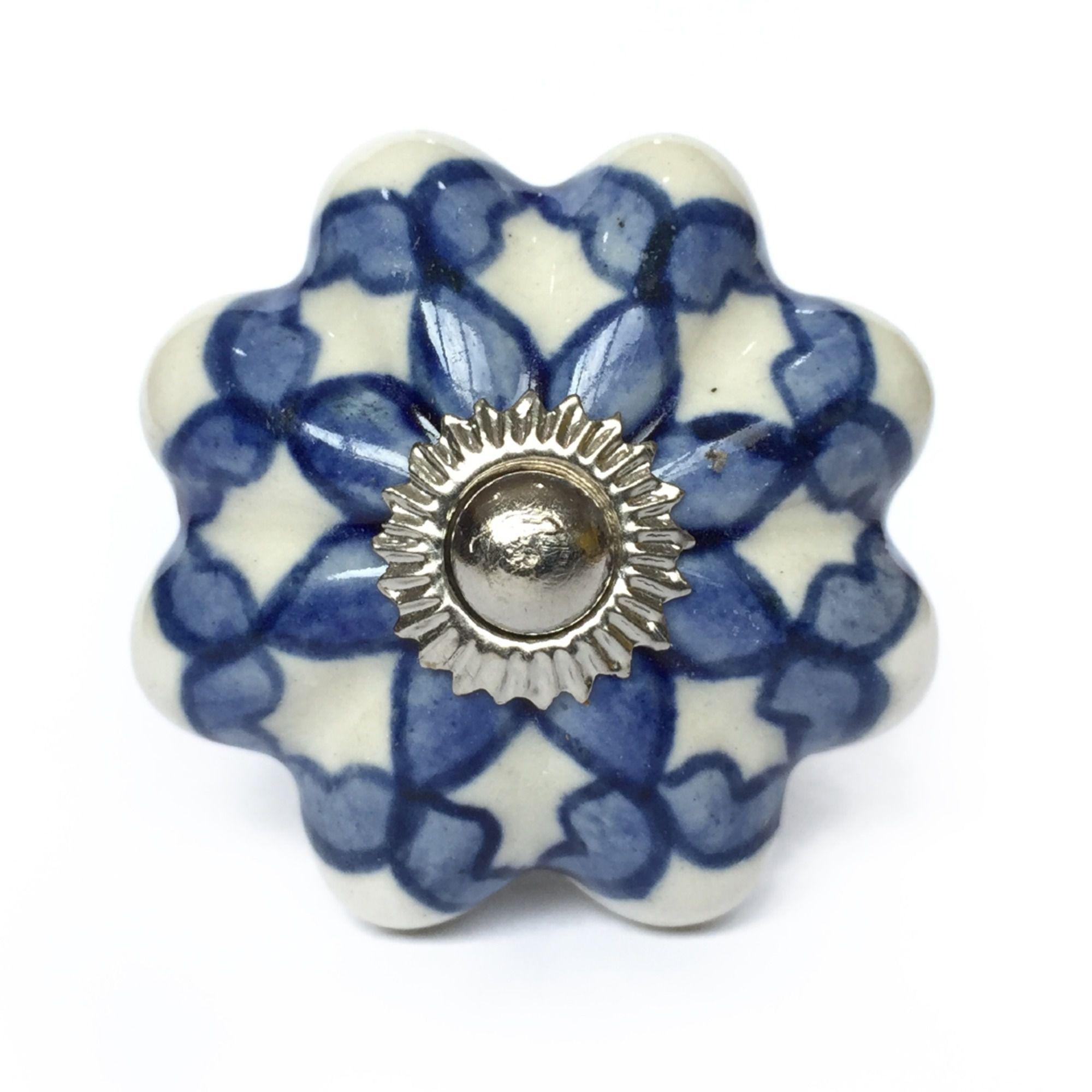 Puxador de Porcelana Iza Azul e Branco - kit 4 pçs