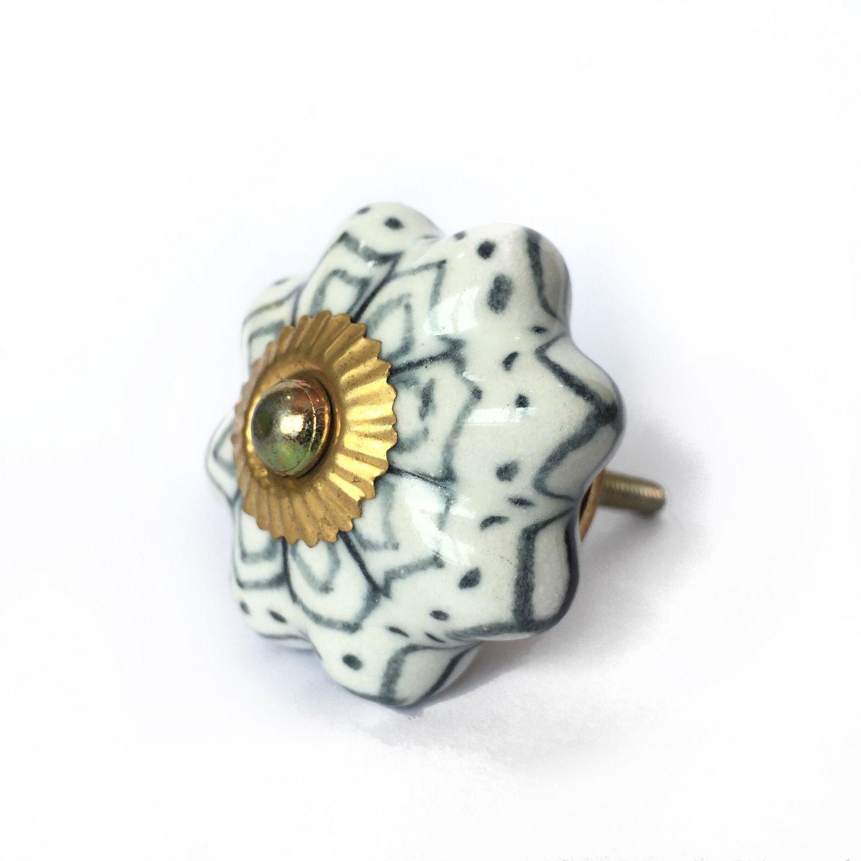 Puxador de Porcelana Jazz Branco e Cinza