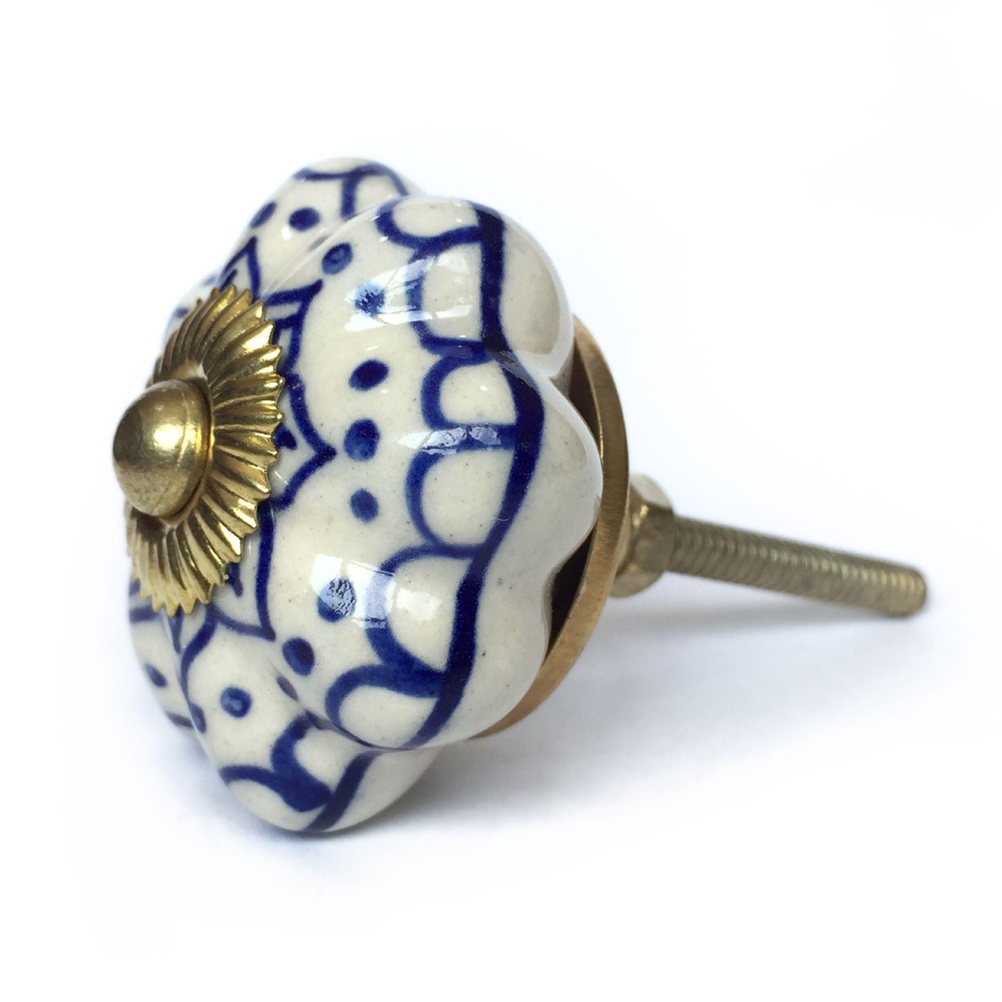 Puxador de Porcelana Luli Azul e Branco