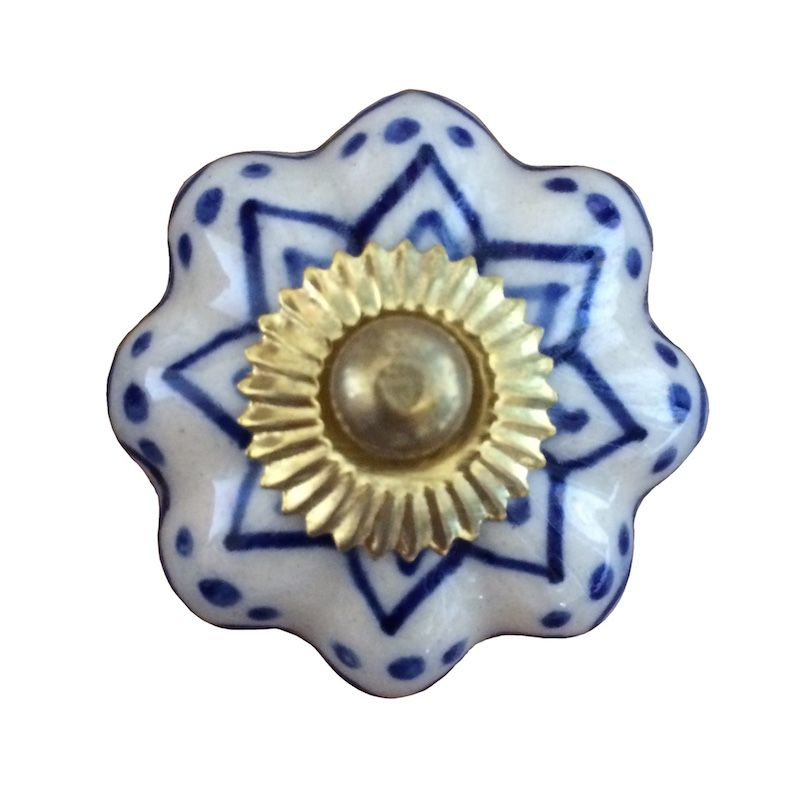 Puxador de Porcelana Luli Azul e Branco - Kit 4 pçs