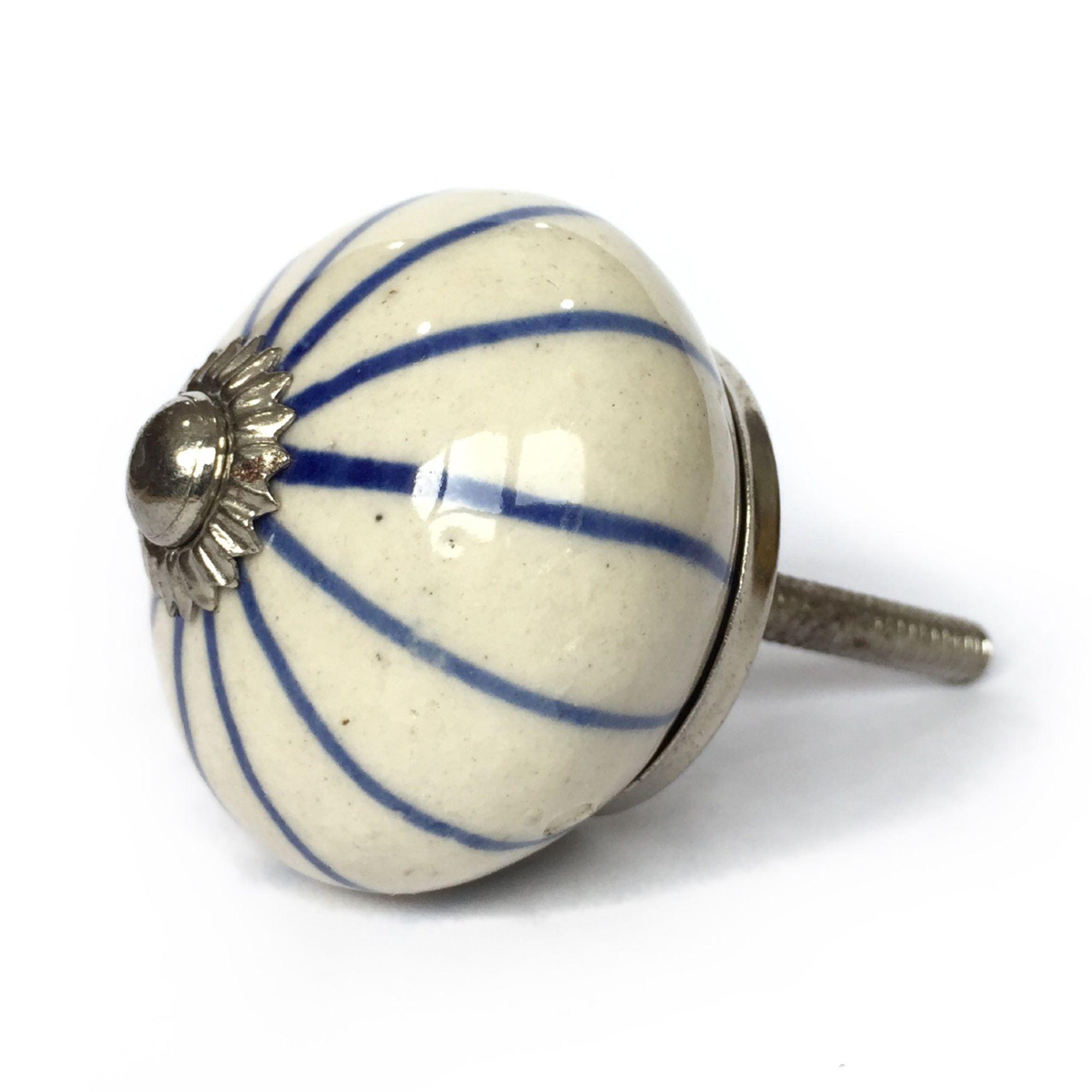 Puxador de Porcelana Malu Azul e Branco