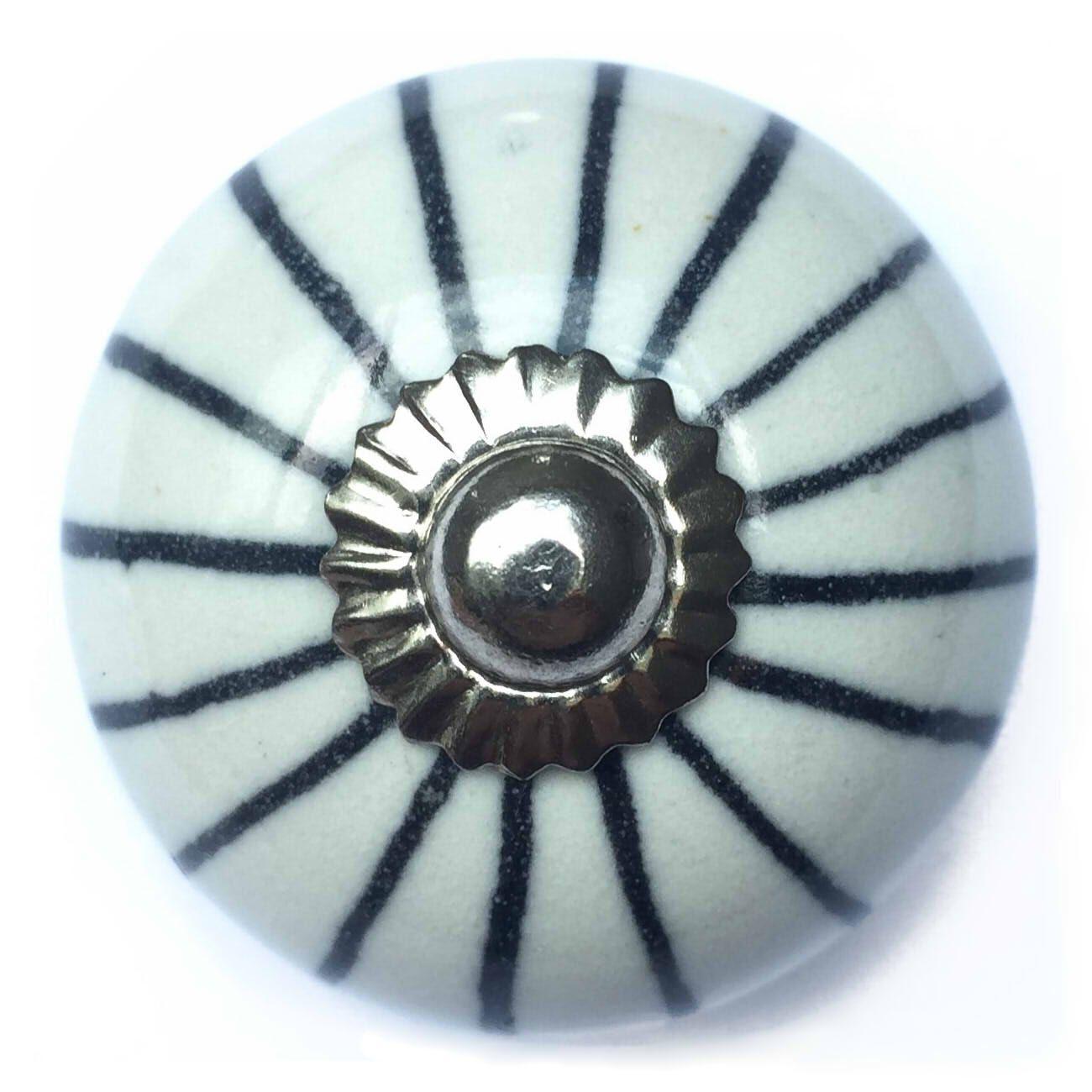 Puxador de Porcelana Malu Preto e Branco
