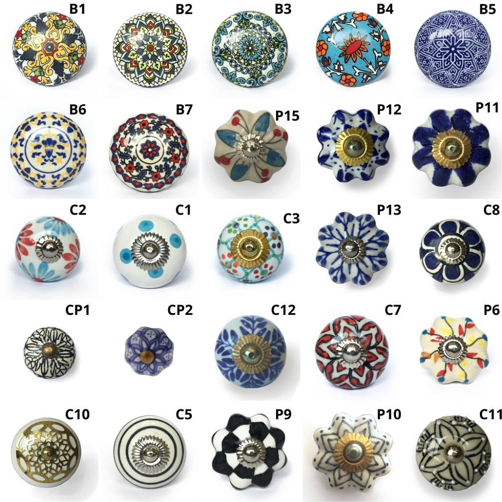 Puxador de Porcelana Sortido - kit 4 peças