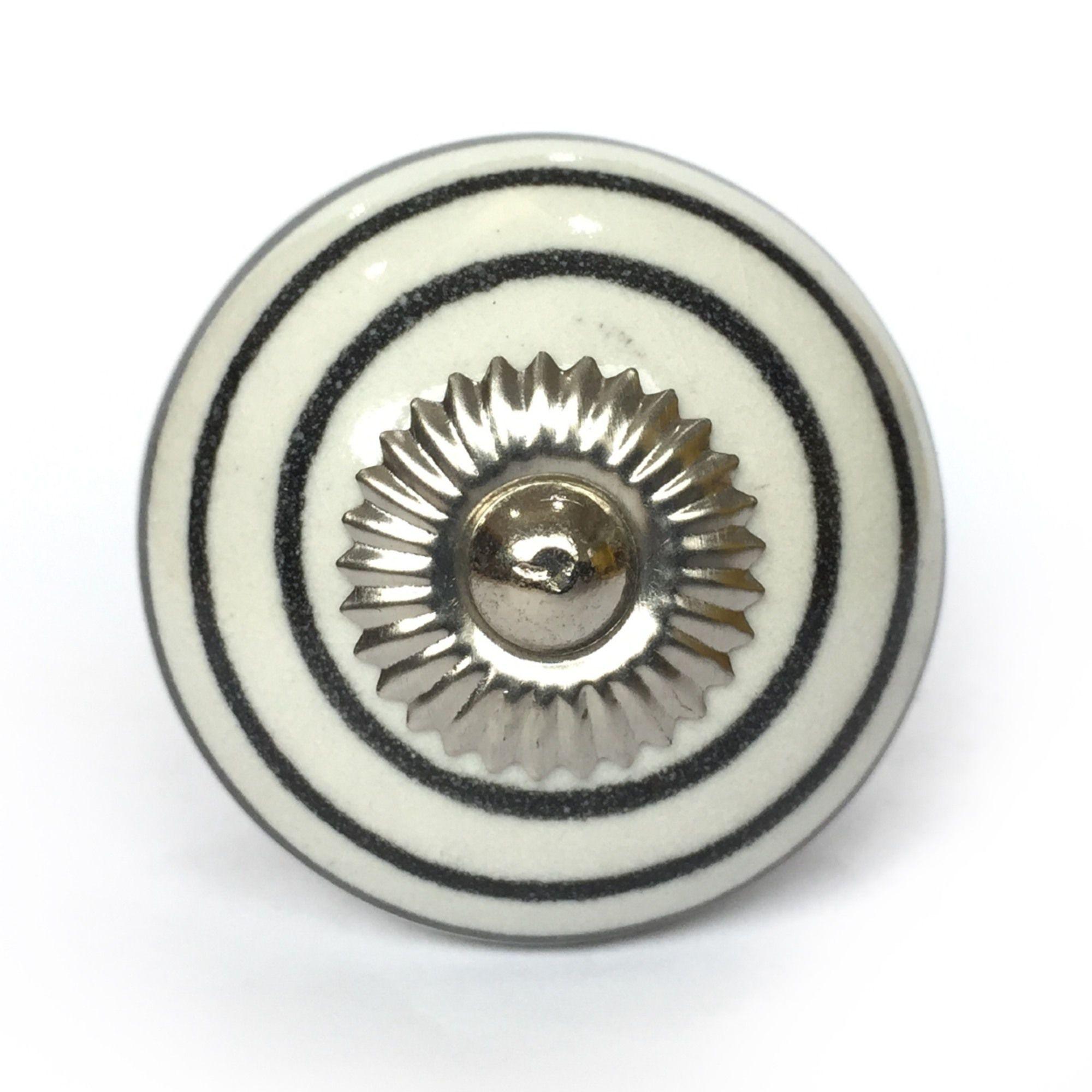 Puxador de Porcelana Target Preto e Branco - kit 4 pçs