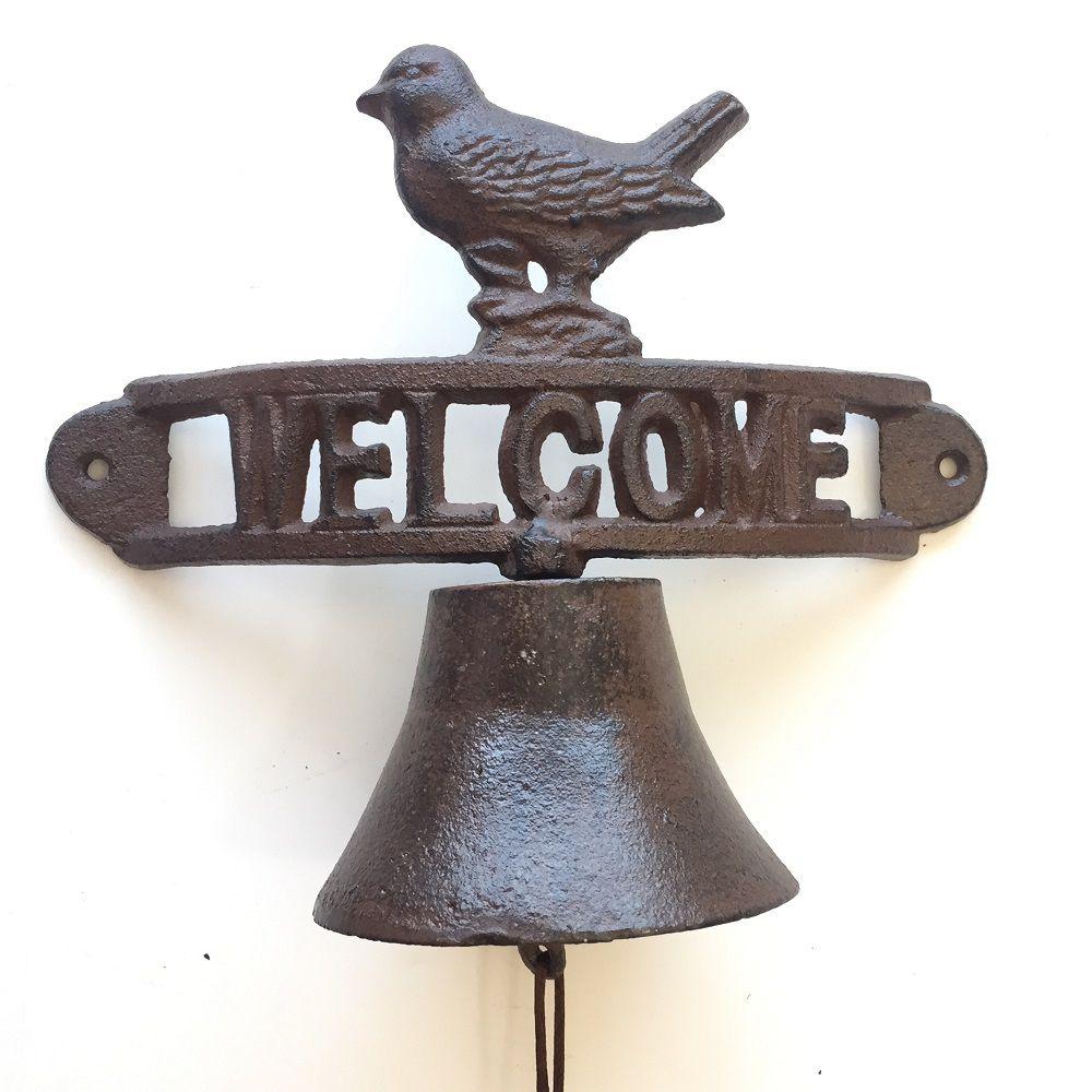 Sino Decorativo em Ferro Fundido Face Welcome Bird