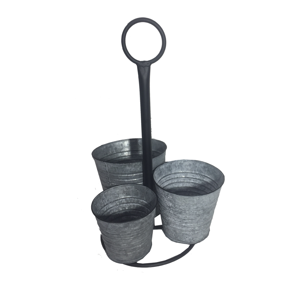 Suporte Metálico Preto com 3 Vasos