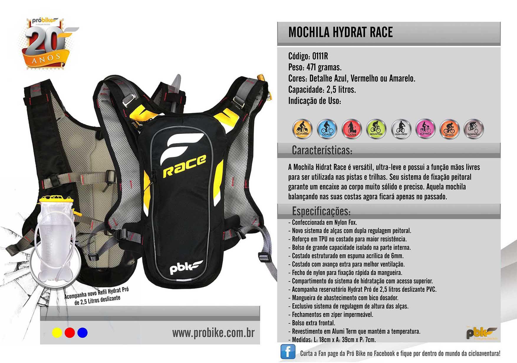 Mochila Hidrat Race 2,5 Litros Probike