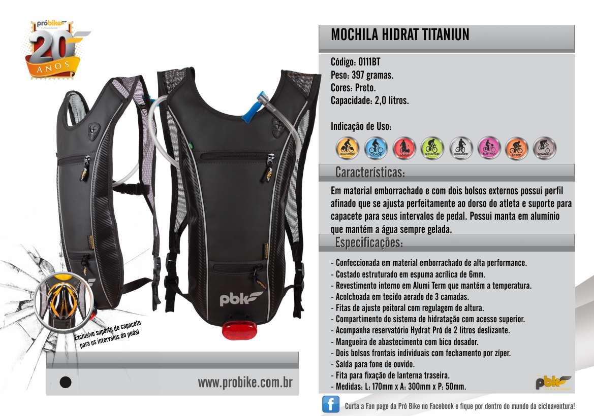 Mochila Hidrat Titanium 2,5 litros Probike