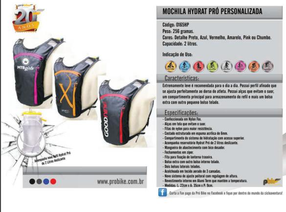 Mochila Hydrat Pró 2 litros Personalizada