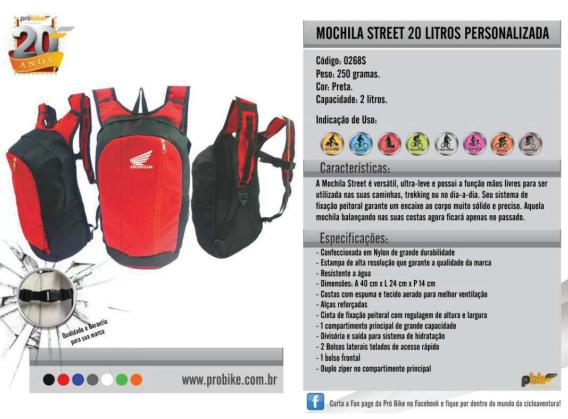 Mochila Street 20 Litros  Personalizada Próbike