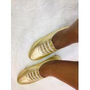Sapatênis em Couro Metalizado Dourado