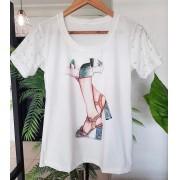 T-shirt Luxo Manga Pérolas