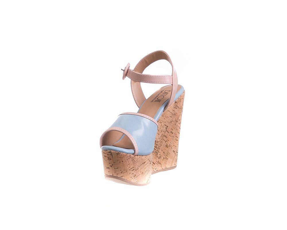 Anabela Azul/Rosa Salto Cortiça