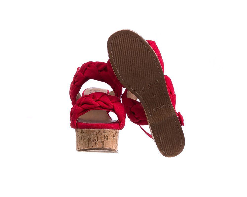 Sandália Plataforma Linho Vermelha Salto Cortiça