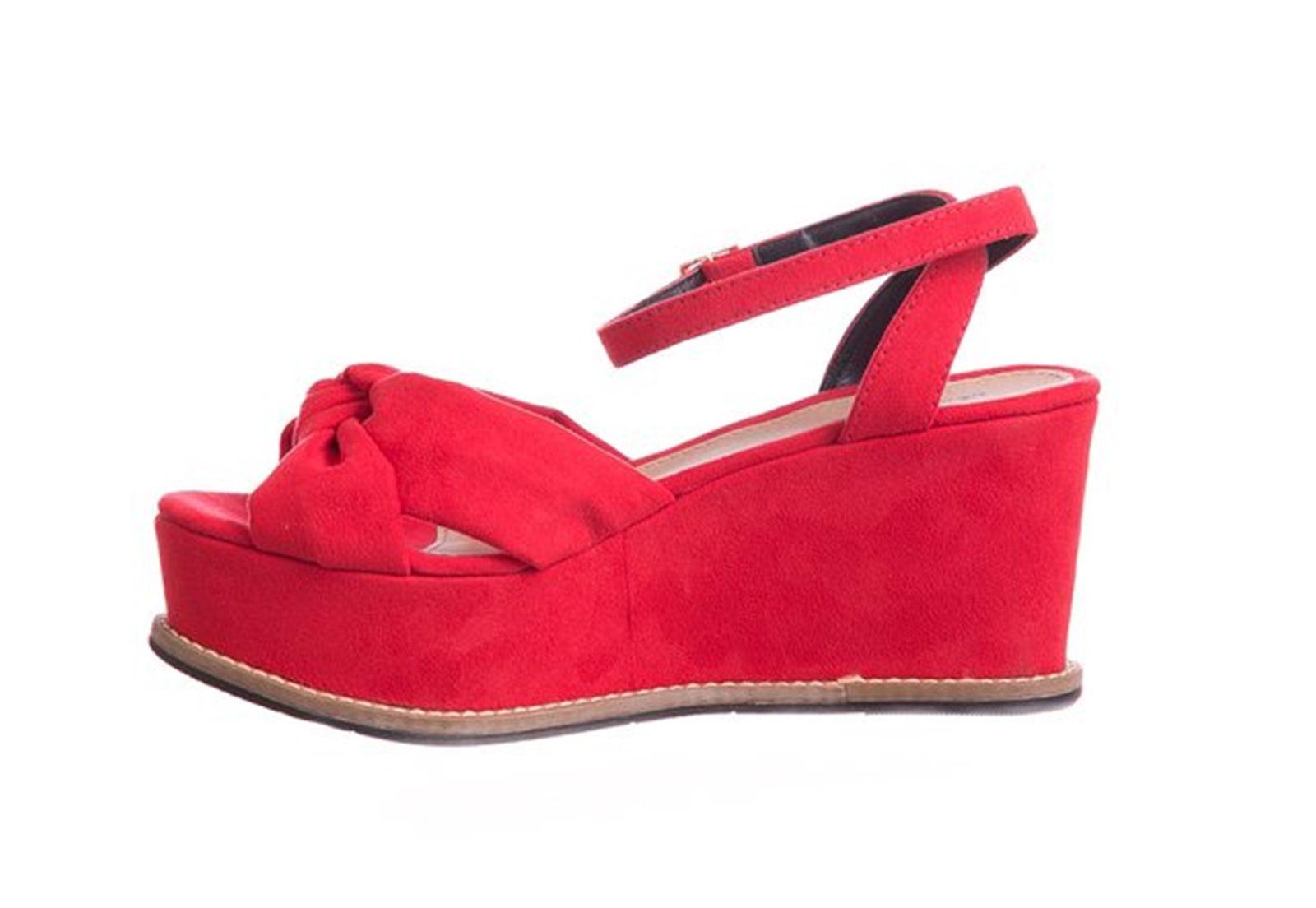 Sandália Plataforma Suede Vermelha