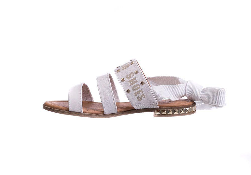 Sandália Rasteira Branca Amarração