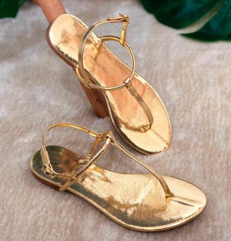 Sandália Rasteira Hit Dourada