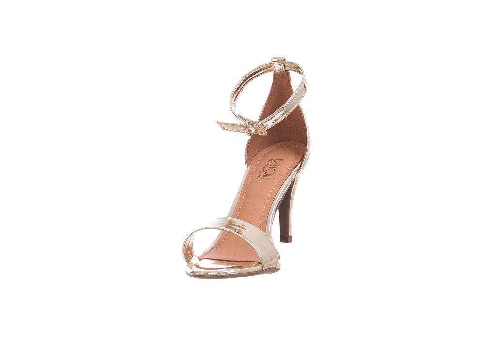 Sandália Salto Fino Metalizada Dourada