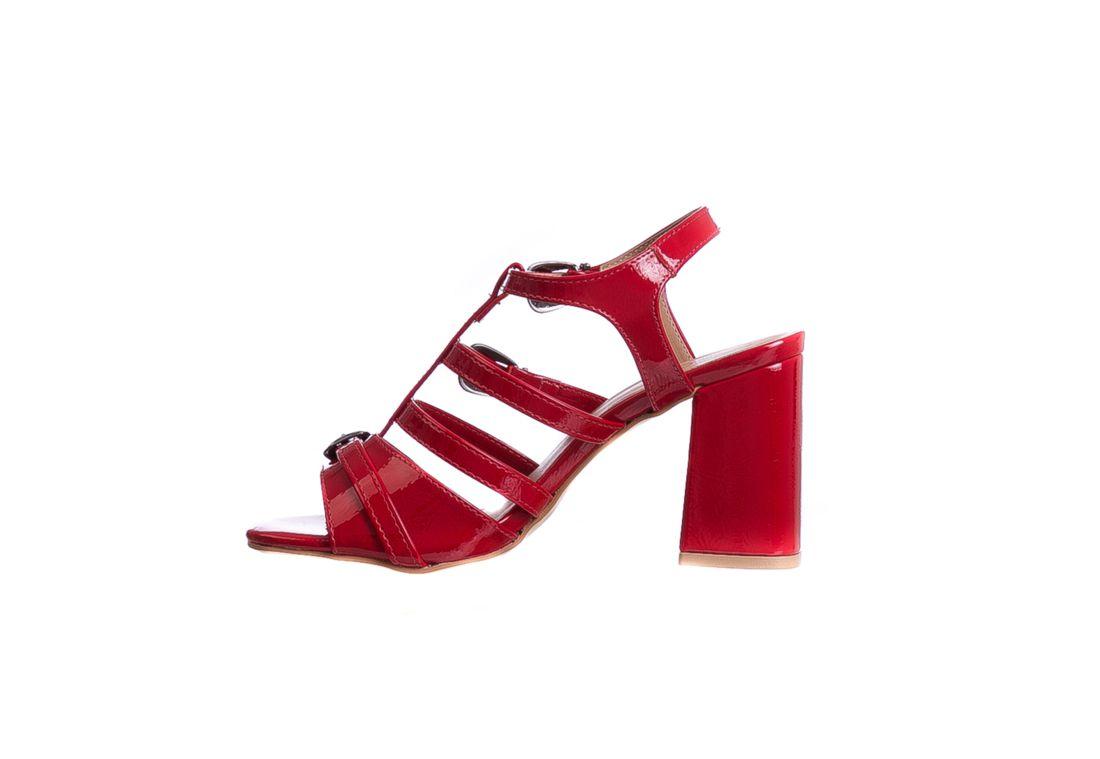 Sandália Salto Grosso Vermelho Ferrari Fivela
