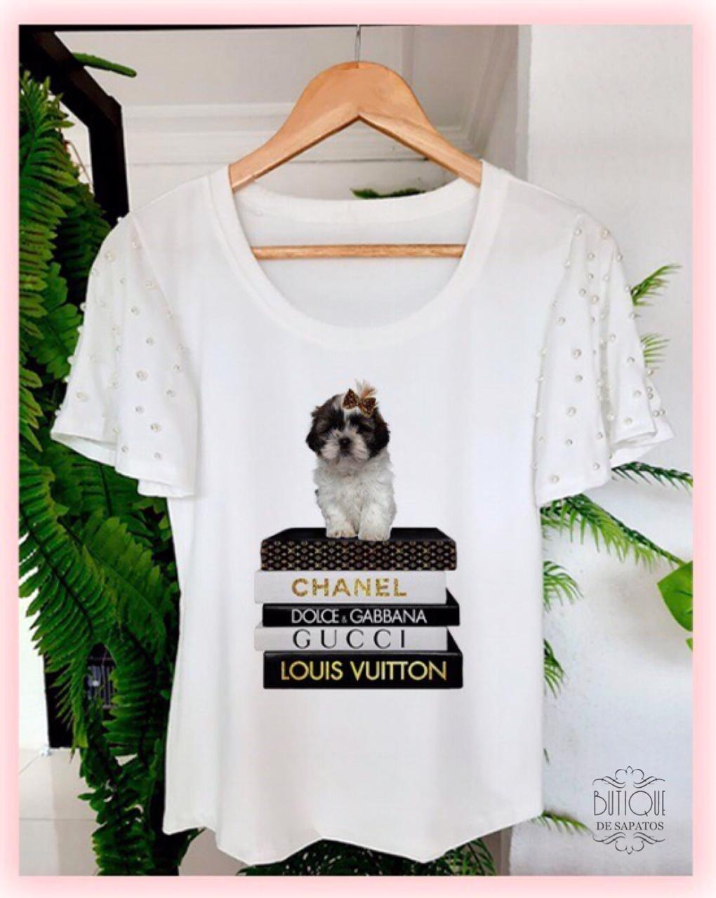 T-shirt Dog Manga Ampla Bordada